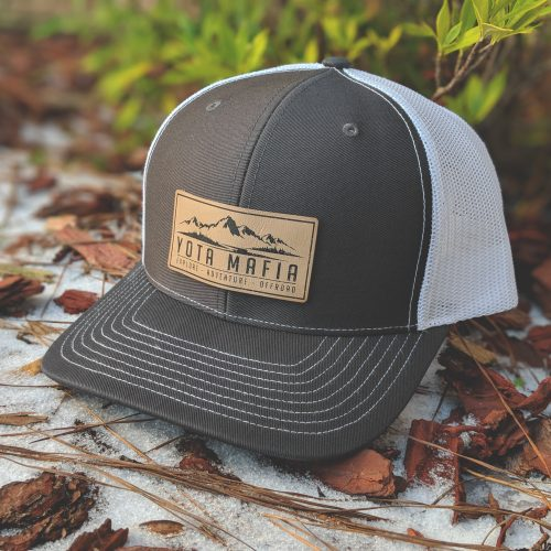**NEW** LEATHER PATCH TRUCKER HAT CHARCOAL/WHITE