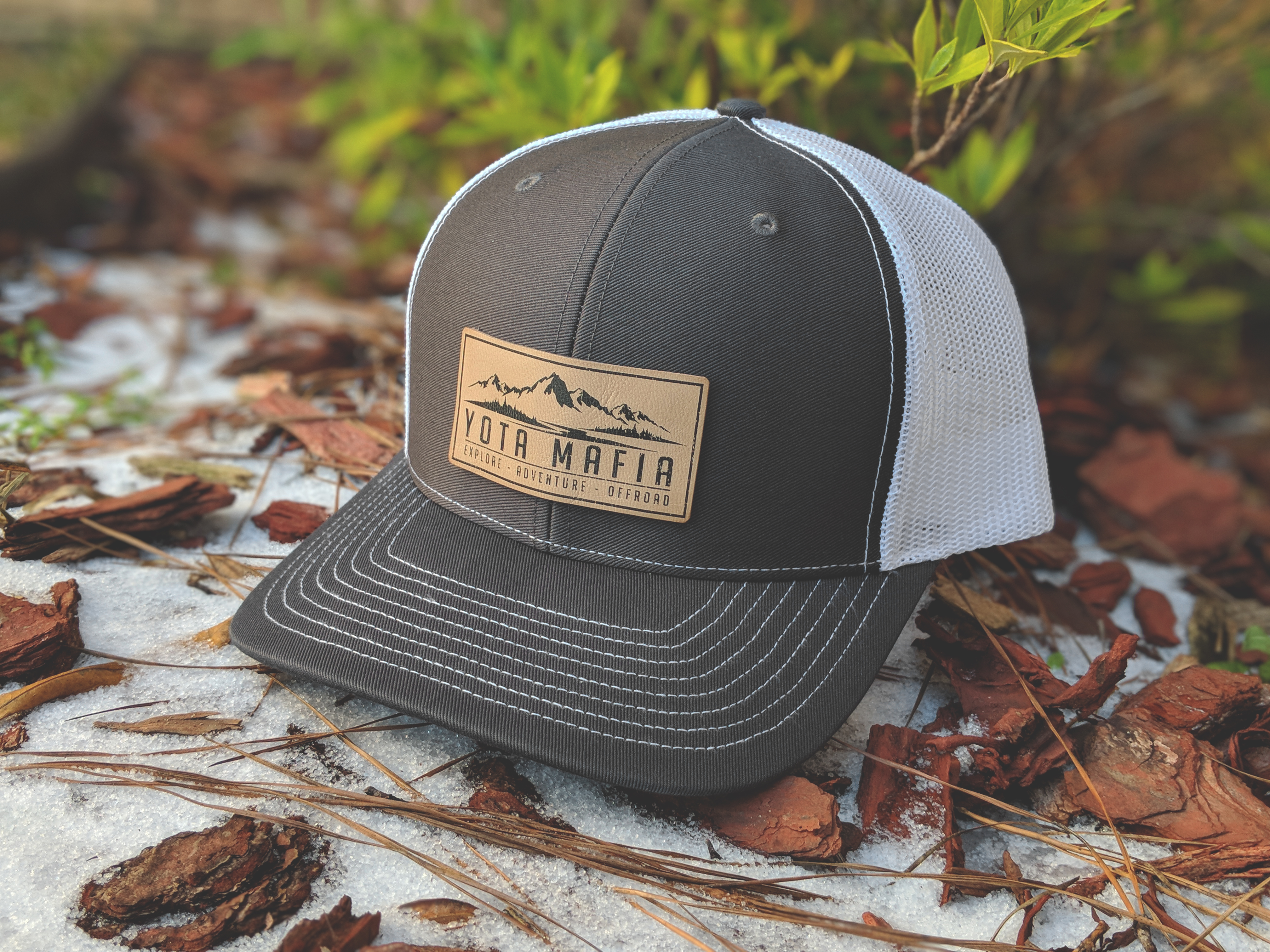 LEATHER PATCH TRUCKER HAT CHARCOAL WHITE – YotaMafia ad2db0fe275