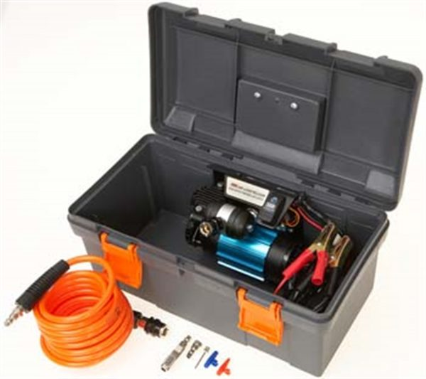 Air Compressor High Output Portable 12V Includes Carry Case 20 Ft. Air Hose Battery Clips Inflation Fittings